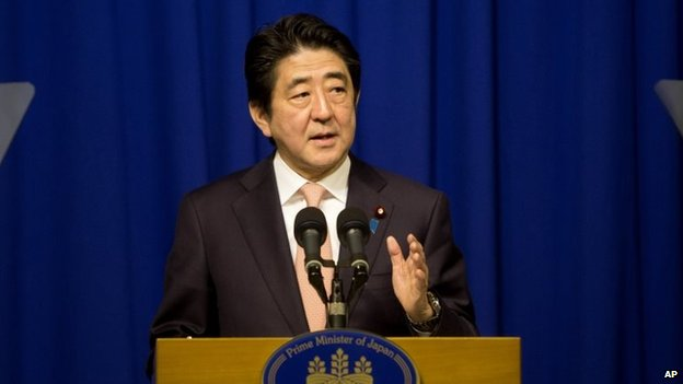 Japan's Prime Minister Shinzo Abe speaks during a press conference in Jerusalem, 20 January 2015