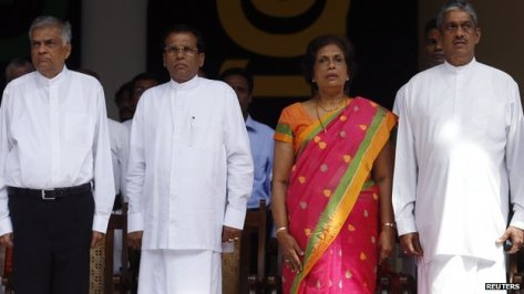 (Left to right) United National Party leader Ranil Wickramasinghe, Presidential candidate Maithripala Sirisena, former president Chandrika Bandaranaike Kumaratunga and former commander of the army Sarath Fonseka at an election rally in December 2014