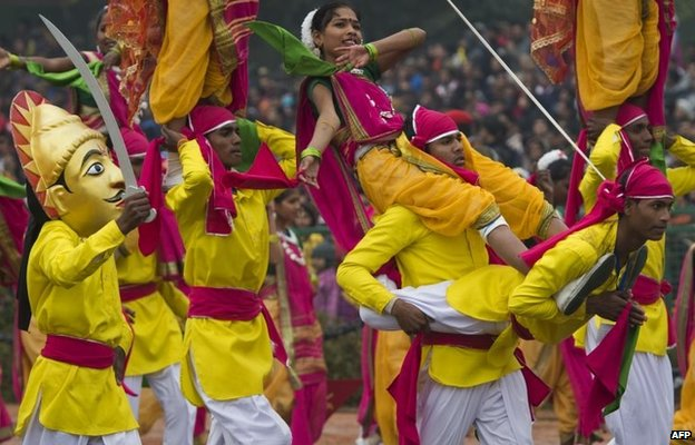 Indian dancers perform during the nation's Republic Day Parade in New Delhi on January 26, 2015
