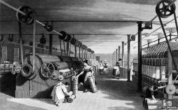 Textile workers in a British cotton factory circa 1840