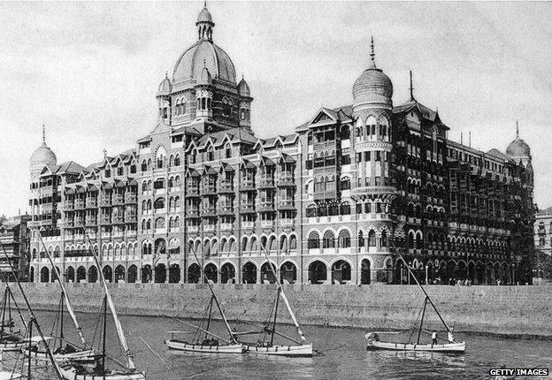 A view of the Taj Mahal Palace Hotel in Mumbai circa 1920