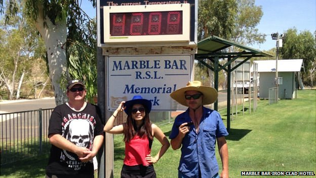Soaring temperatures in Marble Bar. 23 January 2015