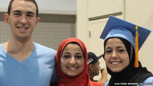 Deah Barakat, his wife Yusor Mohammad Abu-Salha and her sister Razan Mohammad Abu-Salha.