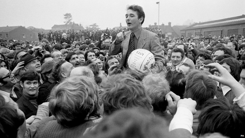 Nottingham Forest manager Brian Clough addresses the crowd before starting the game in 1975
