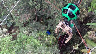 Google's Street View (Trekker) camera on a zip wire in the Amazon rainforest