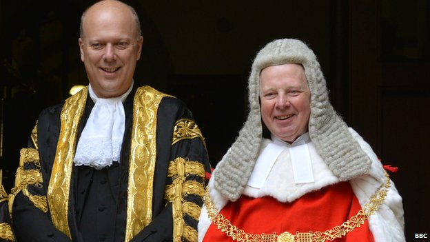 Lord Chancellor Chris Grayling with Lord Thomas, the lord chief justice