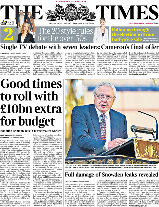 The Times front page, 18/3/15