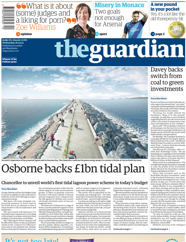 Guardian front page, 18/3/15