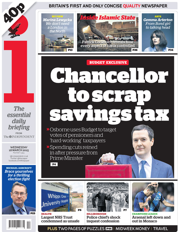 The i front page, 18/3/15