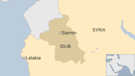 A map showing Latakia and Sarmin in Syria