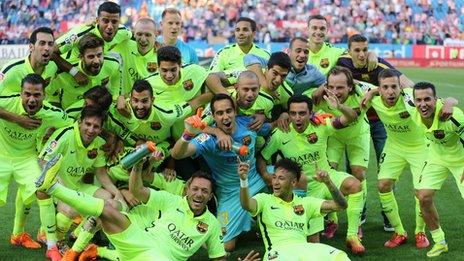 Barcelona celebrate their title win