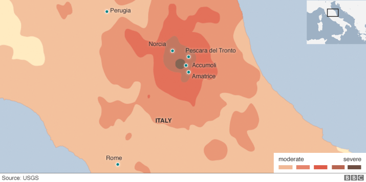 Map showing severity of Italy earthquake