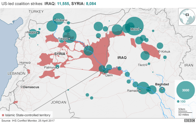 Map of US-led coalition strikes in Iraq and Syria