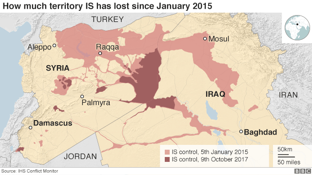 Map shows how much territory IS has lost in Iraq and Syria since 2015