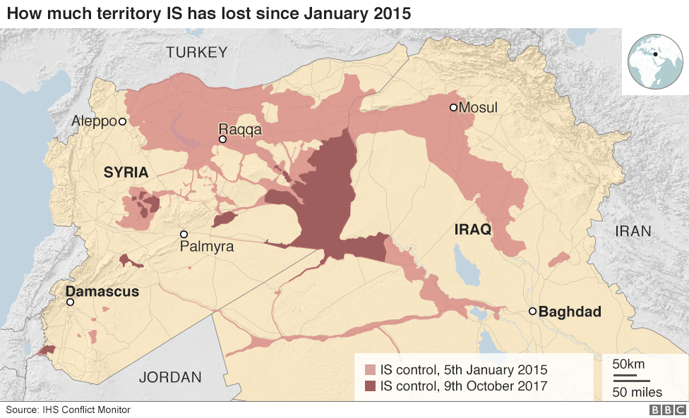 Image result for MAP OF ISIS IN OCTOBER 2017