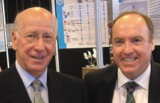 Doug Devlin (right) with Sir Bobby Charlton