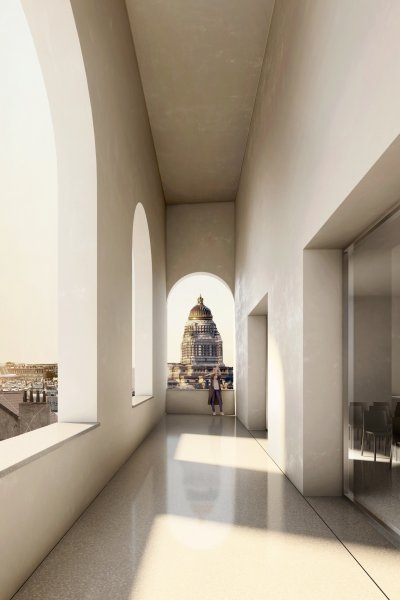 Het bevat een polyvalente zaal voor 250 personen en biedt met zijn loggia en terras een prachtig zicht op het Brusselse panorama.
