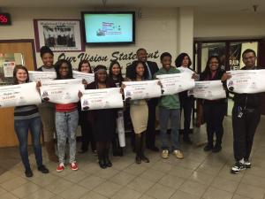 Maplewood seniors celebrate their scholarship offers.