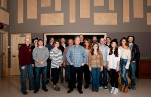 (Front L - R) James Elliott (BU Songwriting Chair), Ed Williams (Sony/ATV), Abbey Adams (Sony/ATV), Mike Whelan (Sony/ATV), Troy Tomlinson (Sony/ATV President/CEO), Hannah Williams (Sony/ATV), Kayla Woodson (junior, EIS), Terry Wakefield (Sony/ATV), Emily Fullerton(sophomore, songwriting), Maddie Larkin (sophomore, songwriting) (Back L - R) Jacque Jordan (sophomore, songwriting), Austin Stanley (freshman, music business), Ben Whisler (senior, music business/production), Tom Luteran (Sony/ATV) Josh Valkenburg (Sony/ATV) Drew Ramsey (BU songwriting faculty)