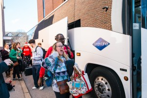 Loading buses for Christmas at Belmont rehearsal