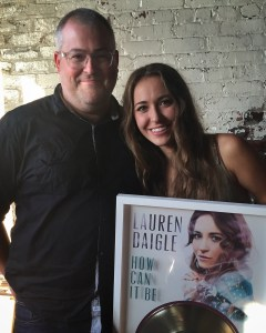Thiele with Daigle at the Gold Record party