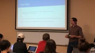 Alumnus Grayson Carroll speaks on data in the political world.