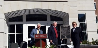 Anne and Joseph Russell celebrate with their family as Russell Hall is dedicated on the Belmont University campus in Nashville, Tenn. November 16, 2016.
