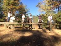 Estelle, Verona, Olivia, Ivy and Littlejohn on horseback in the Smokey Mountains
