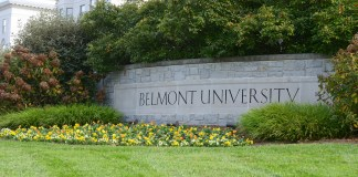 Belmont University's sign, signifying the front of the University's campus
