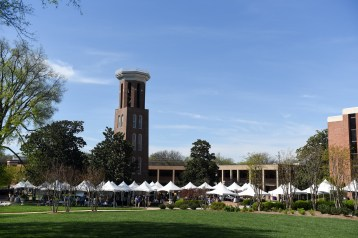 Booths set up by the Bell Tower for Entrepreneurship Village