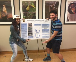 "Students present their ""animal behavior"" research at the zoo."