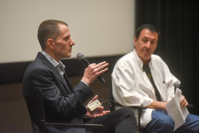 Allan Heinberg, the screenwriter of Wonder Woman, speaks at Belmont University in Nashville, Tenn. August 31, 2017.