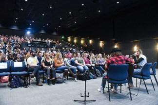 Julia Michaels and Beka Tischker talk at Belmont University in Nashville, Tenn. October 19, 2017