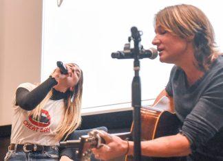 Julia Michaels and Beka talk at Belmont University in Nashville, Tenn. October 19, 2017