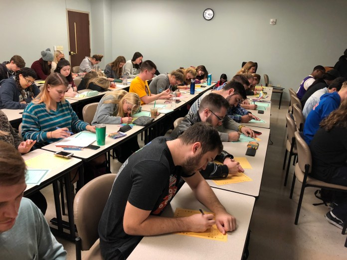 Students participate in Bert's Big Adventure Card Creation Event on Belmont's Campus