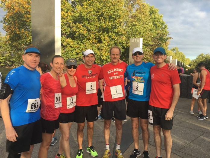 Belmont's 5K team members pose for a picture before their Oktoberfest run.