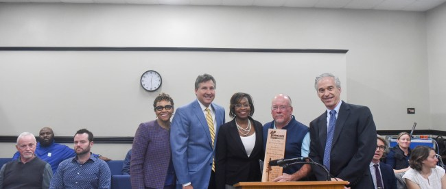 Dr. Jason Rogers receives an award from the Metro Parks Board in Nashville, Tennessee, December 5, 2017.