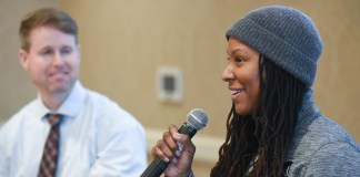 Chamique Holdsclaw speaks at Belmont University Nashville, Tennessee, February 16, 2018.