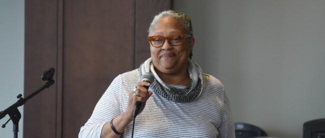 Dean Emilie Townes speaks at Belmont University in Nashville, Tennessee, April 3, 2018.