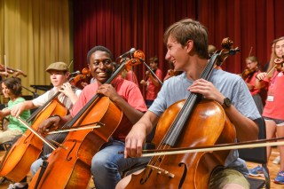Strings jam session at Belmont University in Nashville, Tennessee, June 21, 2018.