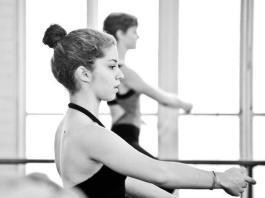 Bagley dancing in a ballet studio