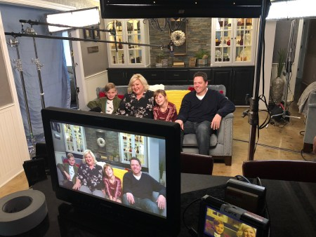 The Radke family on set for the new USA sitcom