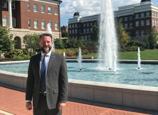 Philip Phillips next to Belmont fountain