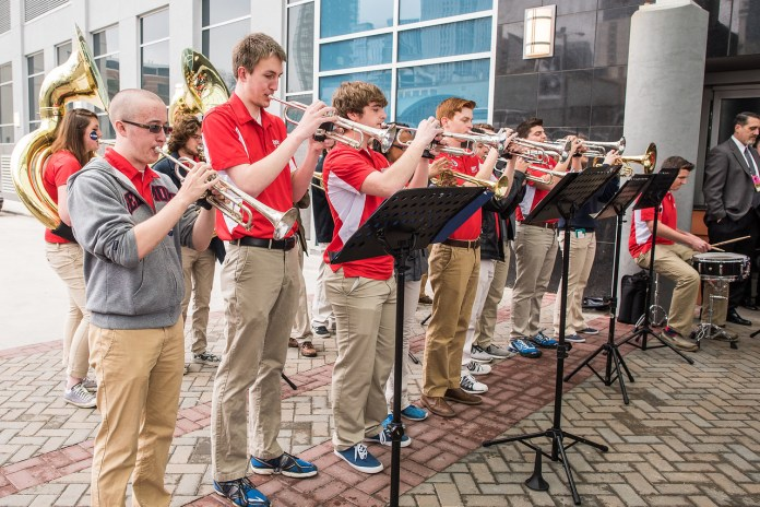 Belmont Band members at pep rally