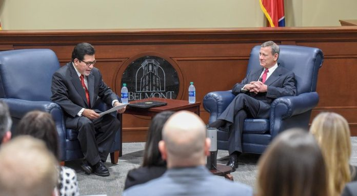 Supreme Court Chief Justice John Roberts speaks at Belmont University in Nashville, Tennessee, February 6, 2019.