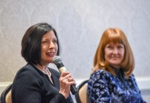 Cindy Baier and Jan Babiak's panel discussion of Diverse Perspectives, Better Decisions during the Kennedy Center for Business Ethic breakfast at Belmont University in Nashville, Tennessee, February 18, 2019.