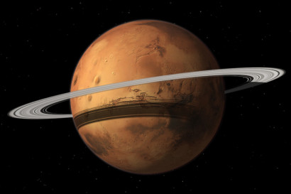Mars could gain a ring in 10-20 million years when its moon Phobos is torn to shreds by Mars gravity. Image by Tushar Mittal using Celestia 2001-2010, Celestia Development Team.