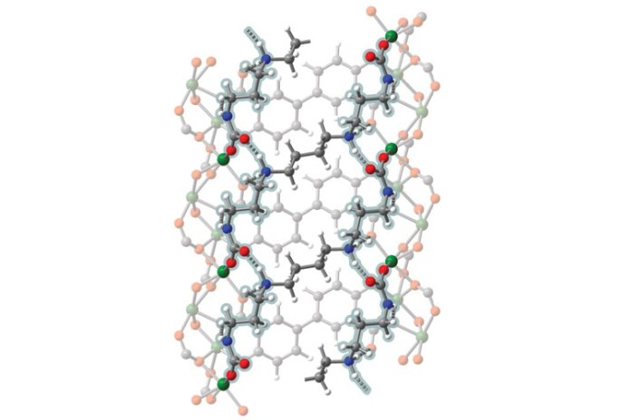 side view of the atoms in a MOF pore with absorbed carbon dioxide