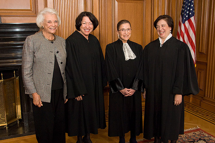 A 2010 portrait of the only four women to have served on the U.S. Supreme Court. From left: Sandra Day O'Connor, then retired, now deceased, Justice Sonia Sotomayor, Justice Ruth Bader Ginsburg and Justice Elena Kagan.