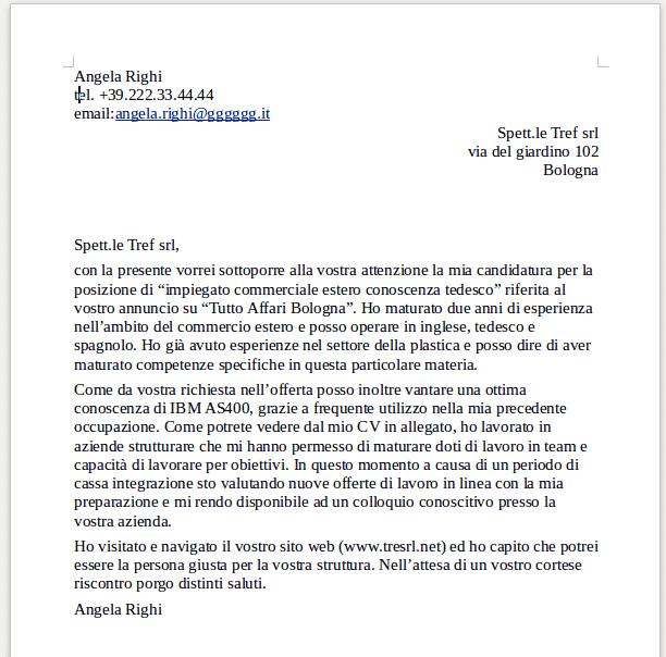 lettera di presentazione curriculum vitae candidatura spontanea